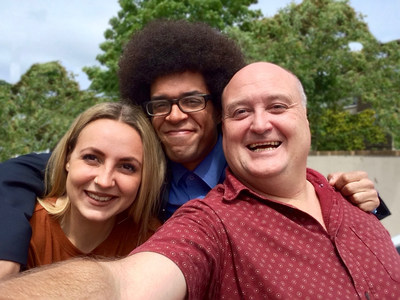 "NewfoodZ Millennial Youth Advisors, Daisy and Lewis with founder Christian J Murray.  ""Turning Waste into Abundance"" is the rallying call for a future of food security for first world countries."