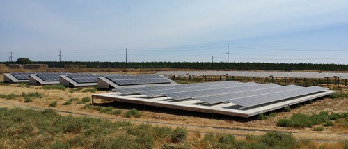 Solar panels sit in their racks at a test site as part of new DNV GL standardized testing of mounting system ...