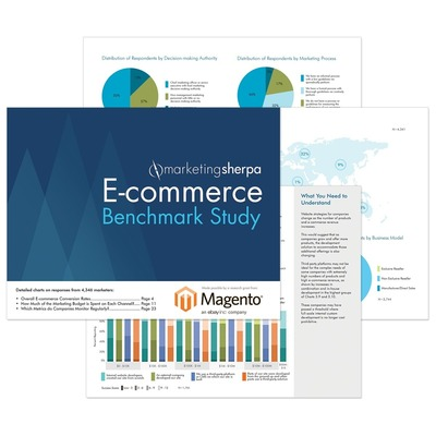 MarketingSherpa's E-commerce Benchmark Study provides marketers the most up-to-date context to compare their e-commerce execution against their peers. It is the culmination of 3,000 hours of research, survey responses from 4,346 e-commerce marketers, interviews with key e-commerce leaders and a literature review of academic works related to e-commerce. The free download includes 94 charts and 29 pages of objective analyses. The study was made possible by a research grant from Magento. (PRNewsFoto/MarketingSherpa)