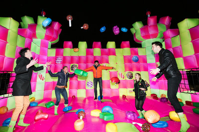 A jelly-themed, adults-only bouncy castle has been created to celebrate the launch of Candy Crush Jelly Saga, from King Digital Entertainment, in London, England.