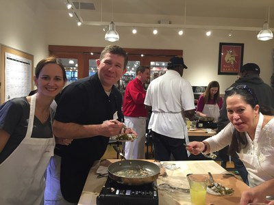 Wounded Warrior Project hosts wounded veterans at cooking class.