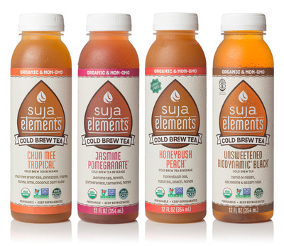 Suja Juice's first line of cold brewed, organic, non-GMO and cold-pressured teas, including its first Biodynamic(R) beverage.  (PRNewsFoto/Suja Juice Co.)