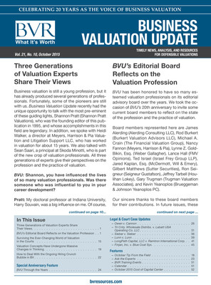 Business Valuation Update celebrates 20 years.