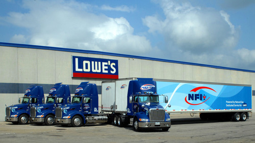 Lowe's, a five-time SmartWay award winner, recently launched a dedicated fleet of natural gas-powered trucks at its regional distribution center in Mount Vernon, Texas. The fleet is among the first serving a major retail distribution center in North America to run solely on natural gas.   (PRNewsFoto/Lowe's Companies, Inc.)