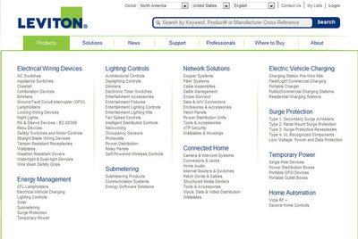 A newly designed navigation menu gives site visitors access to robust item detail pages for the more than 25,000 products in Leviton's catalog.