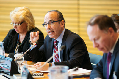 Former President of Mexico Felipe Calderon presents the work of the Global Commission on the Economy and Climate during the Spring Meetings of the International Monetary Fund and the World Bank Group.