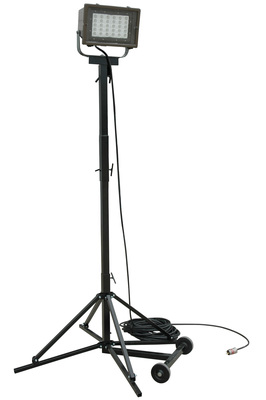 The HAL-QP-1x150LED-100 is a quadpod mounted hazardous area LED light and provides 18,000 square feet of work area coverage with 14,790 lumens of light output. This portable LED light tower has a removable LED light head mounted on top of a four leg steel quadpod for easy positioning of the unit from one area of the workspace to another. The LED light head on this unit produces a wide flood pattern of light that is ideal for illuminating enclosed areas such as tanks and containers and is suitable for hazardous locations where flammable vapors, gases and dusts may be present.  (PRNewsFoto/Larson Electronics)