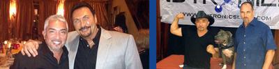 Left: Dr. Rick Lentini with Cesar Millan, Right: Senior Vice President John Jurkus with Cesar Millan.  (PRNewsFoto/Nutronics Labs)