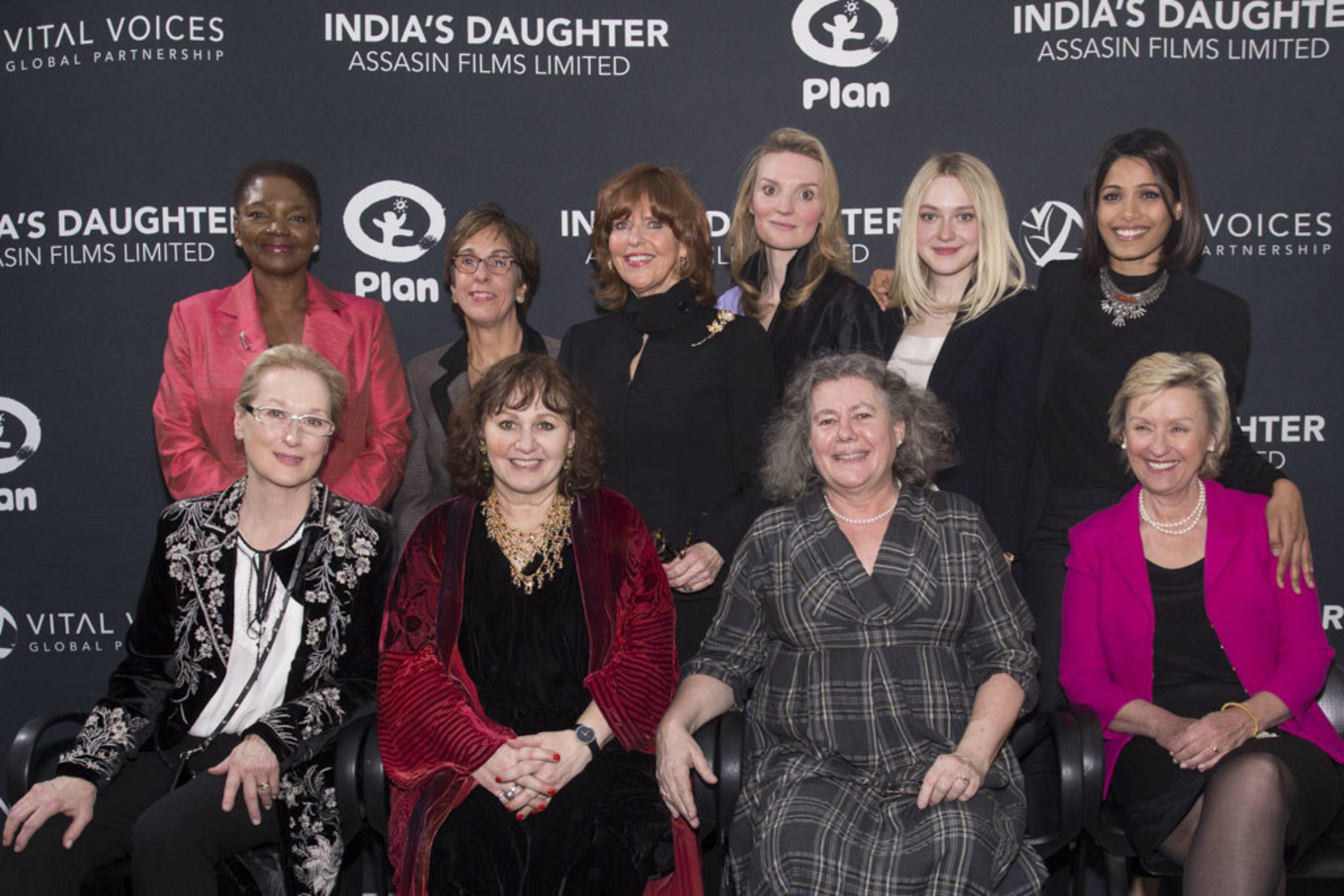 L-R Back: Baroness Valerie Amos, Tessie San Martin, Susan Davis, Alyse Nelson, Dakota Fanning, Freida Pinto; L-R Front: Meryl Streep, Leslee Udwin, Tanya Barron, Tina Brown
