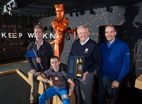European team (l-r) Alasdair Reid, Mark McGivern, Colin Montgomerie and Martin Dempster, storms to victory at JOHNNIE WALKER Ryder Cup media event in the JOHNNIE WALKER EXPERIENCE (PRNewsFoto/JOHNNIE WALKER)