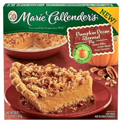 Marie Callender's newest dessert features her signature flaky, made-from-scratch pastry crust, brimming with real pumpkin blended with just the right spices and finished with a crunchy brown sugar streusel with toasted pecans.