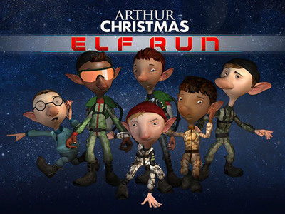 Enhance your Elf-Esteem!  Play Arthur Christmas: Elf Run - the #1 Kids Game app at iTunes UK.  Download it now at the iTunes Store or the Android Market.  (PRNewsFoto/Spin Up Games)