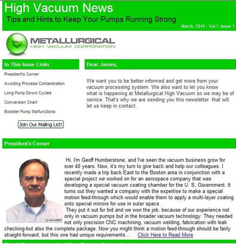 New Issue Of High Vacuum News From Metallurgical High Vacuum