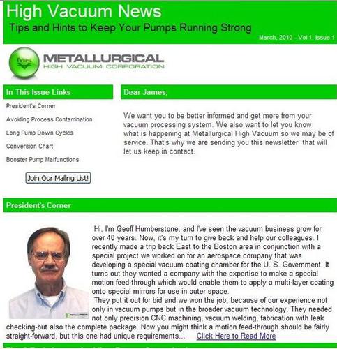 Metallurgical High Vacuum's High Vacuum News Newsletter.  (PRNewsFoto/Metallurgical High Vacuum)