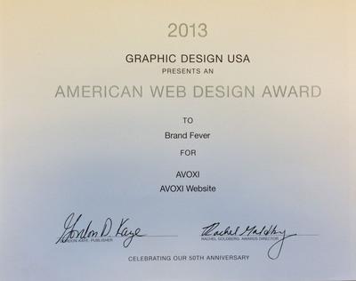 AVOXI.com wins the American Web Design Award.  (PRNewsFoto/AVOXI)