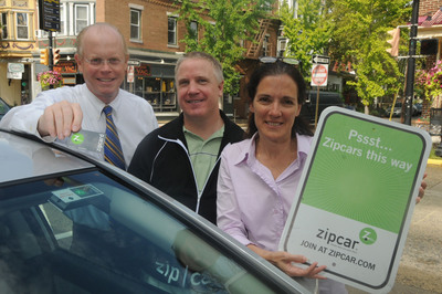 Mayor James Maley, left, Zipcar's Philadelphia General Manager Peter Bruvik, and Collingswood Commissioner Joan Leonard with one of the new Zipcars now located in Collingswood, NJ.  (PRNewsFoto/Zipcar, Inc., Curt Hudson)