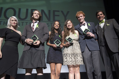 Left to right: Director and screenwriter Gren Wells, students from Redwood High School in Marin County accepting their award and Stan Collins of Directing Change.