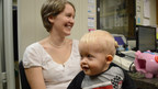 One-year-old Tristan Hayes, who underwent bilateral cochlear implantation at St. Joseph's Children's Hospital in Tampa, hears his mother, Brittany Hayes, for the first time.