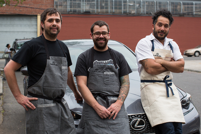 Lexus Culinary Masters Jon Shook, Vinny Dotolo and Carlo Mirarchi with the Lexus IS F SPORT at the Cooking with Friends: Lexus Culinary Masters event in Brooklyn, NY (PRNewsFoto/Lexus)