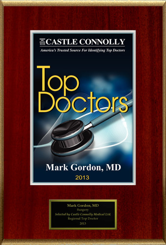 Dr. Mark W Gordon, MD is recognized among Castle Connolly's Top Doctors(R) for Miami-Hialeah, Hollywood, FL region in 2013.  (PRNewsFoto/American Registry)