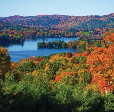 Vibrant fall foliage at Lake Waramaug in New Preston, Conn.