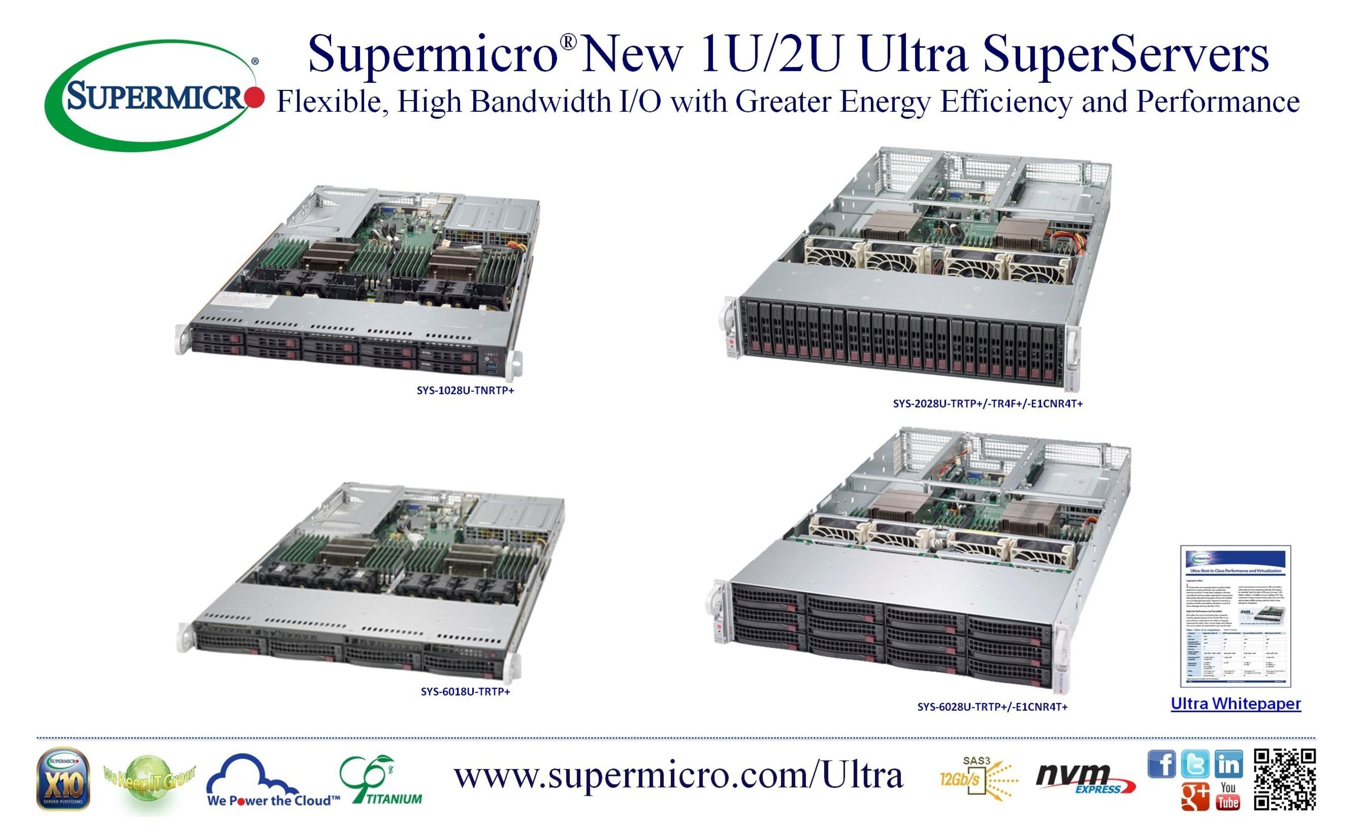 I nuovi SuperServer Ultra 1U/2U di Supermicro® offrono I/O flessibili, a banda larga, con
