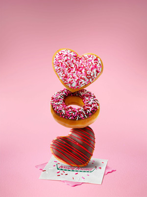 Sweet talk your Valentine with a box full of heart-shaped deliciousness from Krispy Kreme.  Krispy Kreme Sprinkled Heart, Valentine Sprinkles and Chocolate Iced Heart doughnuts are available now through February 14 at participating Krispy Kreme US and Canadian locations.  (PRNewsFoto/Krispy Kreme Doughnut Corporation)
