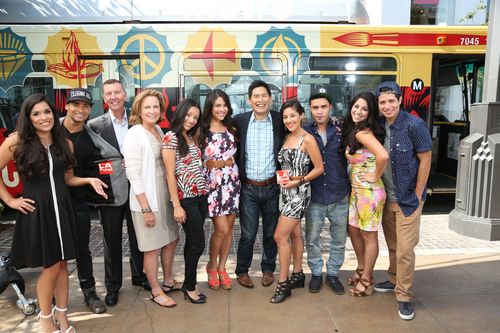 LAFund CEO Megan Chernin; LAFund Executive Director Dan Chang; Los Angeles Unified School District Superintendent John Deasy; the cast of East Los High: Danielle Vega (Ceci), Jorge Diaz (Paulie), Hector David (Christian), Gabe Chavarria (Jacob), Janine Larina (Jesse), Gabriel Chavarria (Jacob), Alicia Sixtos (Maya), Noemi Gonzalez (Soli) and Tracy Perez (Vanessa).  (PRNewsFoto/The Los Angeles Fund for Public Education)