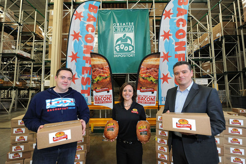 Left to Right: Michael Griggs, Co-Founder Baconfest Chicago, Elizabeth Di John, Brand Manager, Bacon Lovers ...