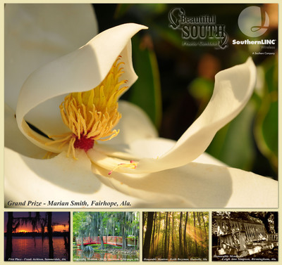 SouthernLINC Wireless announces Beautiful South Photo Contest winners. Marian Smith, Fairhope, Ala., earns the $2,000 grand prize for her magnolia blossom photo. A sunset at Florala State Park merits Frank Atchison, Summerdale, Ala., first place and $500. Shelly Atkinson, Sylacauga, Ala., Keith Bozeman, Hartselle, Ala., and Leigh Ann Simpson, Birmingham, Ala., receive honorable mentions and $100 each. All five photos are featured as free, downloadable wallpapers for SouthernLINC Wireless phones.  (PRNewsFoto/SouthernLINC Wireless)