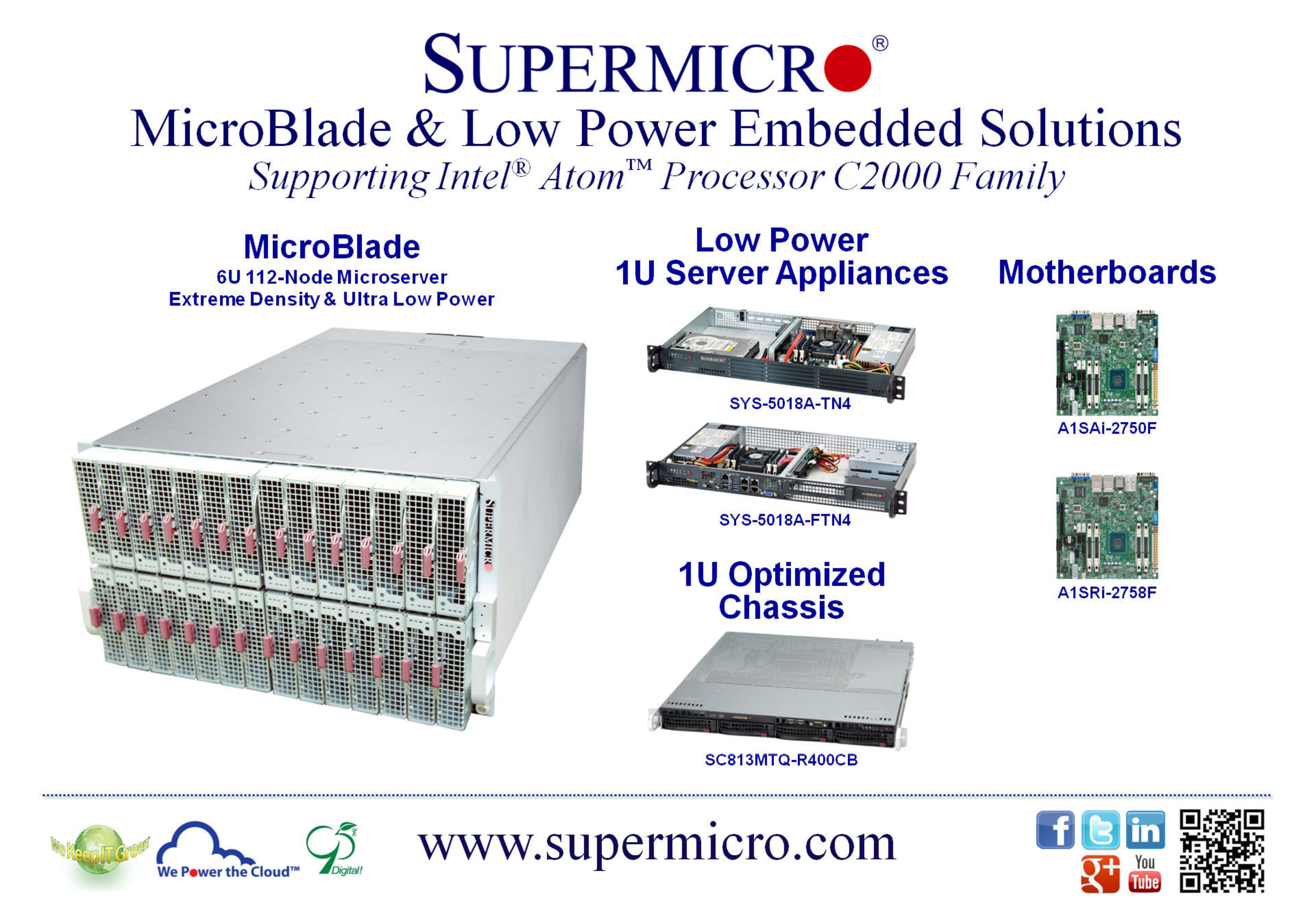 Supermicro(R) Debuts Extreme Density MicroBlade & Low Power Embedded Server Solutions.  (PRNewsFoto/Super Micro Computer, Inc.)