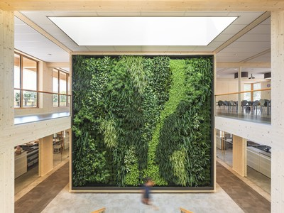 Green wall inside of the most sustainable office in the world, the head office of Geelen Counterflow in Haelen, the Netherlands. 99,94% score in the international Breeam certification system. Completely constructed fromsustainably forested wood and generating 50% more solar energy than it consumes. (PRNewsFoto/Geelen Counterflow)