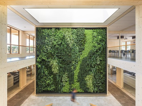 Green wall inside of the most sustainable office in the world, the head office of Geelen Counterflow in Haelen, the Netherlands. 99,94% score in the international Breeam certification system. Completely constructed from sustainably forested wood and generating 50% more solar energy than it consumes. (PRNewsFoto/Geelen Counterflow)