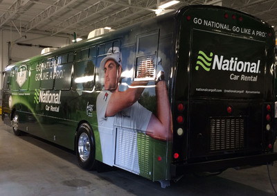 "The National ""Go Like A Pro"" mobile experience is a customized, golf-themed tour bus that will travel to events throughout the National Car Rental PGA ProAm Series.   (PRNewsFoto/National Car Rental)"