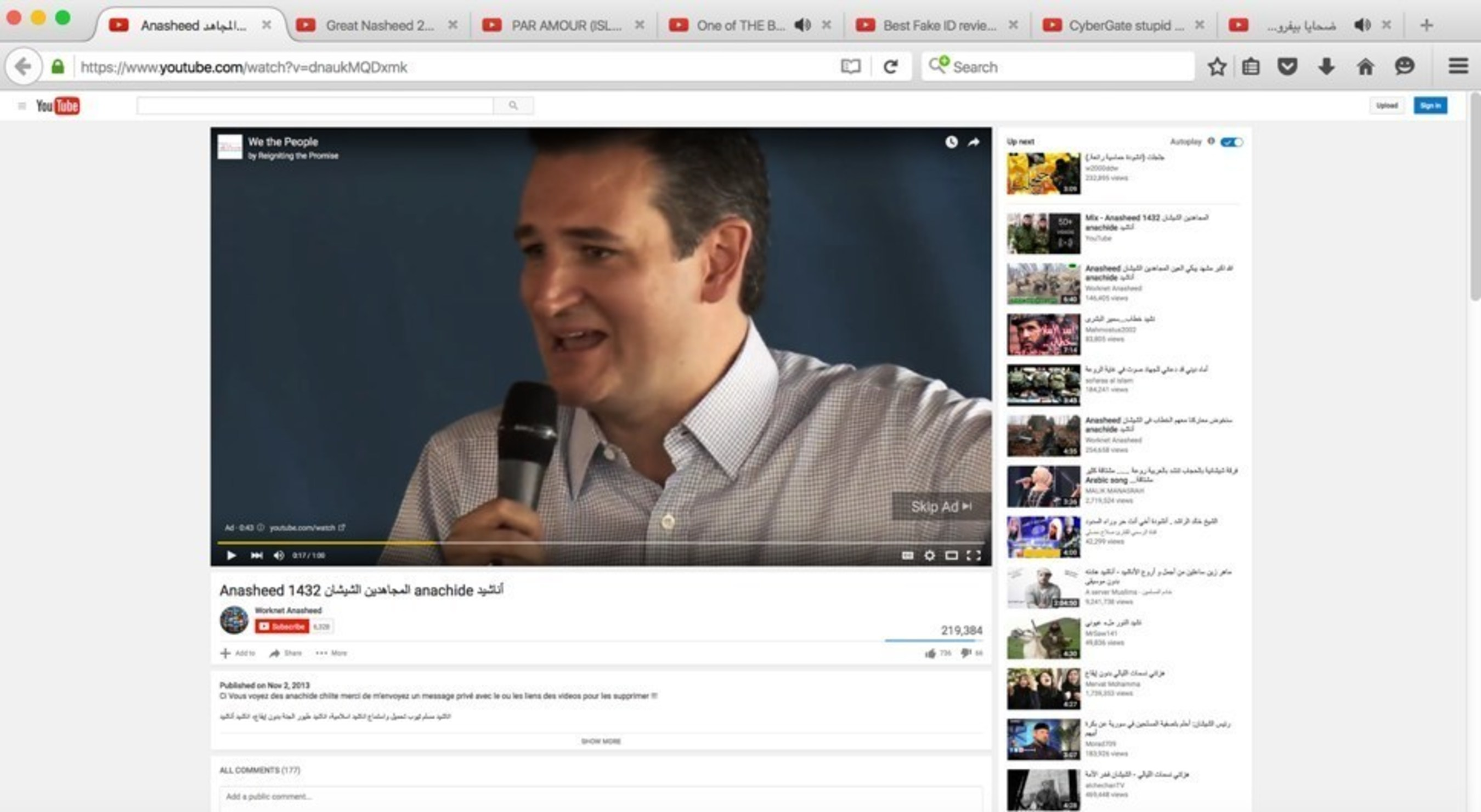 Screenshot including a Reigniting the Promise (a pro-Cruz Super PAC) taken in Arlington, VA on February 29, 2016.