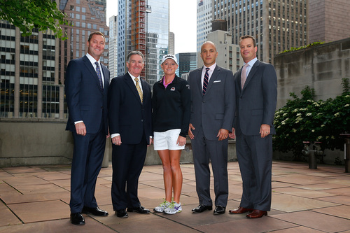 (From left to right): Mike Whan, Commissioner, LPGA Tour; John Veihmeyer, Chairman, KPMG; Stacy Lewis, LPGA Professional; Pete Bevacqua, CEO, PGA of America and Mike McCarley, President, Golf Channel gather in New York for the announcement of the KPMG Women's PGA Championship. (PRNewsFoto/PGA of America)