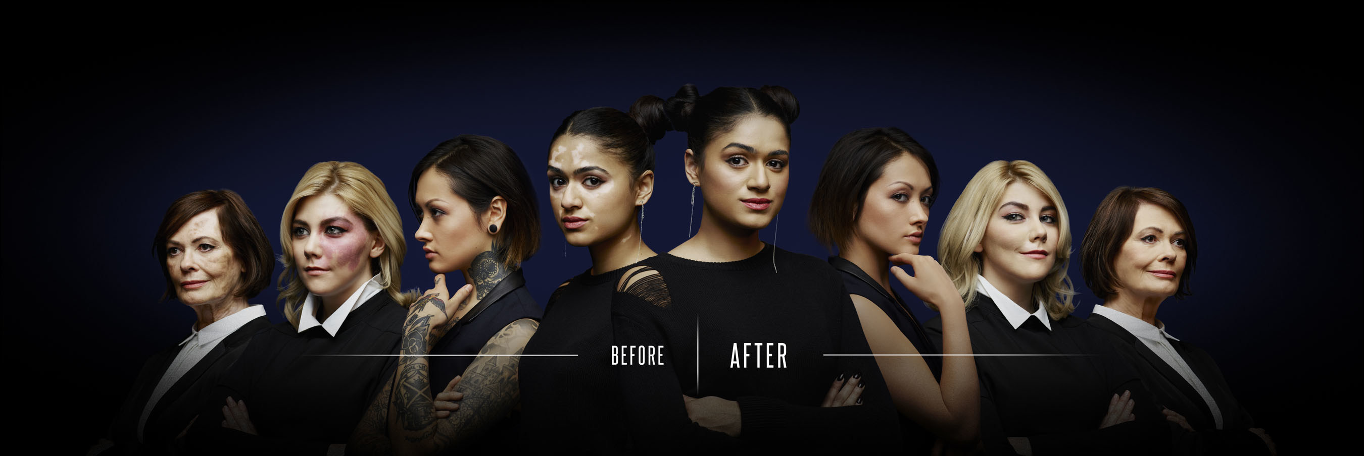 Revealing before and afters featuring Dermablend's full-coverage foundations