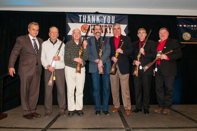 Anthony Imperato, President of Henry Repeating Arms, presenting a Henry Military Service Tribute Rifle to U.S. Veterans at The NRA Foundation Banquet & Auction at the Great American Outdoor Show in Harrisburg, PA. L to R: Anthony Imperato, President of Henry Repeating Arms, Warren Plot U.S. Air Force in WW2, Max Elwood Colbertson U.S. Army in Korea, Harold Bowman U.S. Marine in Vietnam, Steve Macdonald U.S. Navy in Iraq, Matthew Corwin U.S. Marine in the Gulf War, and Ed Fisher U.S. Army in Afghanistan.