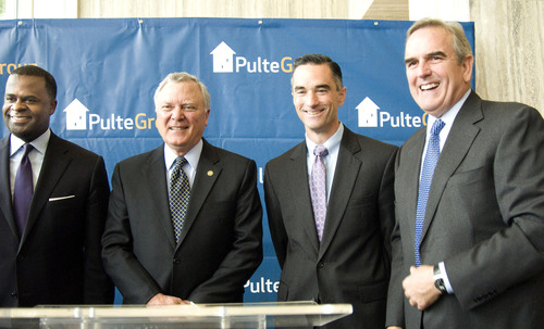 Governor Deal, Mayor Reed and Sam Williams, with the Metro Atlanta Chamber of Commerce, welcome PulteGroup CEO, Richard Dugas, to Atlanta.  (PRNewsFoto/PulteGroup, Inc.)