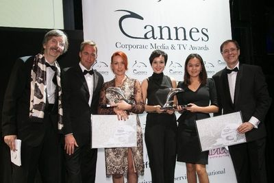 The Kazakh delegation receives the Silver Dolphin Award at Cannes Corporate Media & TV Award Festival. Copyright: Österreichisches Filmservice/Blaise Tassou.