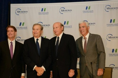 From L to R - Robert C. Garrett, president and CEO of Hackensack University Health Network, Joseph Simunovich, Chairman of Hackensack University Health Network Board of Trustees, Gordon Litwin, Esq., Chairman of Meridian Health Board or Trustees, John K. Lloyd, president and CEO of Meridian Health