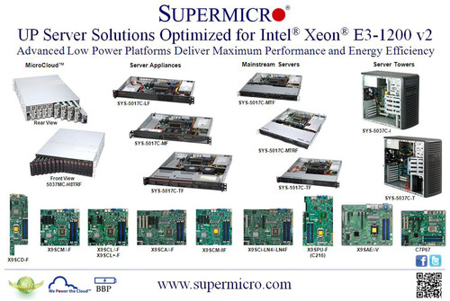 Supermicro® lancia la più ampia gamma di piattaforme server UP che supportano Intel® Xeon® E3-1200