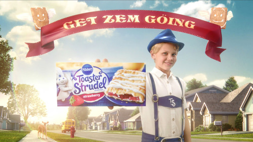 "The new face of Pillsbury Toaster Strudel, Hans Strudel, helps ""Get Zem Going!"". (PRNewsFoto/Pillsbury Toaster Strudel) (PRNewsFoto/PILLSBURY TOASTER STRUDEL)"