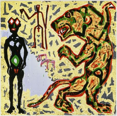The Man, The Woman, The Lion and the Animals at the Water Hole, 1989  by A.R. Penck
