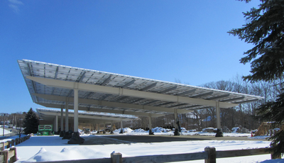 Solaire Generation's first Long Span 360 solar carport was recently installed at Danversport Yacht Club in Danvers, MA. (PRNewsFoto/Solaire Generation)