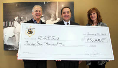 During the 2013 MLB season, Sartori made a special donation to the MACC Fund in conjunction with the first Brewers pitching change of every game.  A check of $25,000 was presented to the MACC Fund on Thursday, January 16th by Sartori CEO Jim Sartori and his wife, Jan.  (PRNewsFoto/Sartori Cheese)