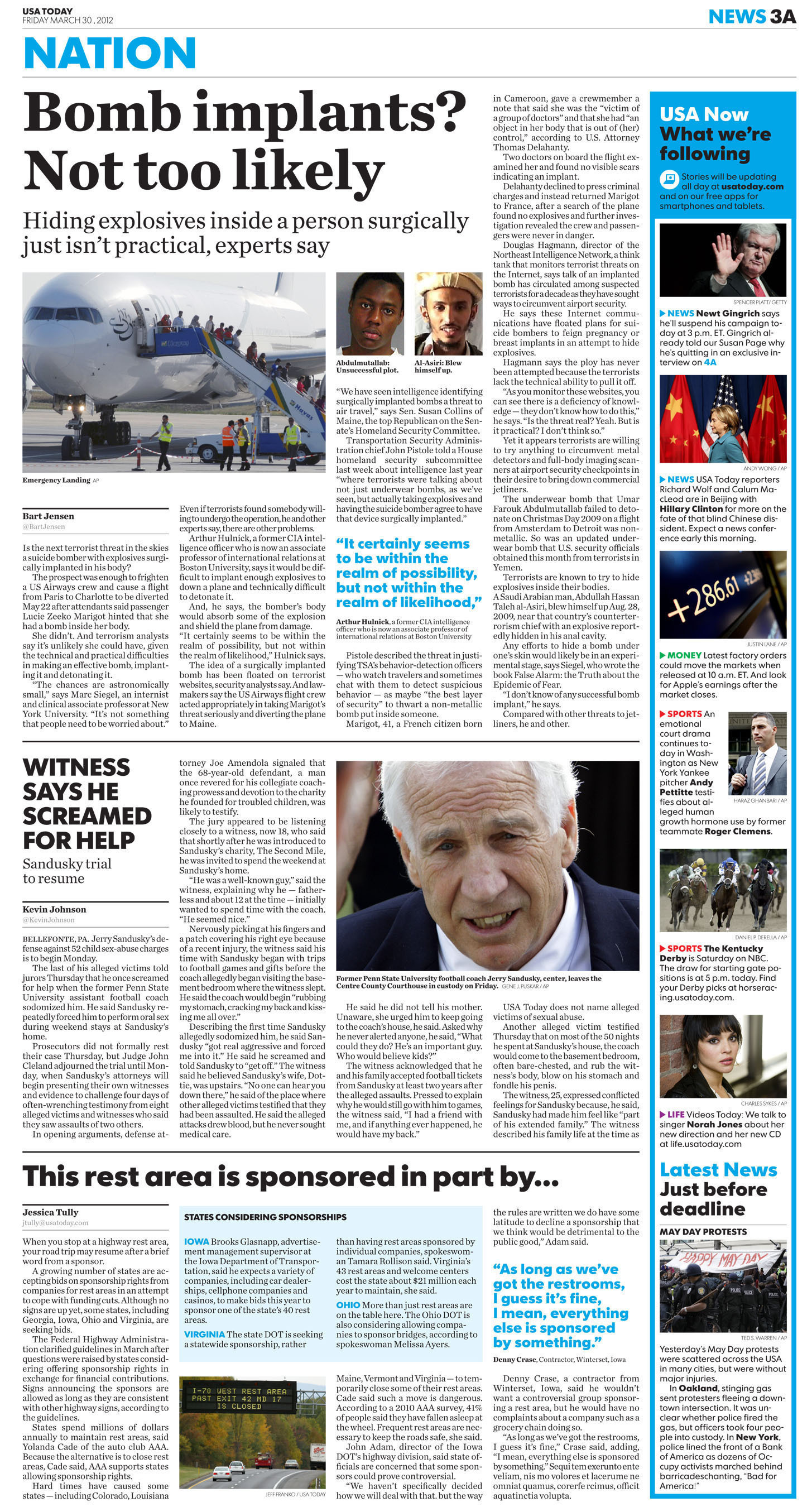 USA TODAY Unveils Dramatic Redesign on all platforms -- Page 3A(PRNewsFoto/USA TODAY)