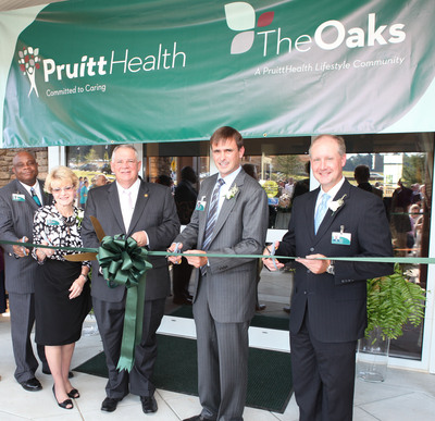 The Oaks of Athens Ribbon Cutting - L to R: Corporate Chaplain Connie Graham, Administrator Patricia Tanner, Georgia Speaker of the House David Ralston, Chairman and CEO Neil L. Pruitt, Jr., and Chief Operations Officer Chris Bryson.  (PRNewsFoto/UHS-Pruitt Corporation)