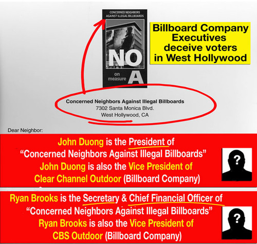 'Concerned Neighbors Against Illegal Billboards' PRESIDENT, is the VICE PRESIDENT of CBS OUTDOOR,