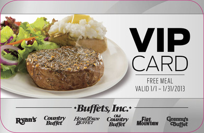 Purchase a $25 gift card or book a holiday party for 20 or more guests at any of the Buffets, Inc. brands of restaurants, between Thanksgiving and Christmas Eve, and receive a complimentary VIP Card for a free meal.  (PRNewsFoto/Buffets, Inc.)